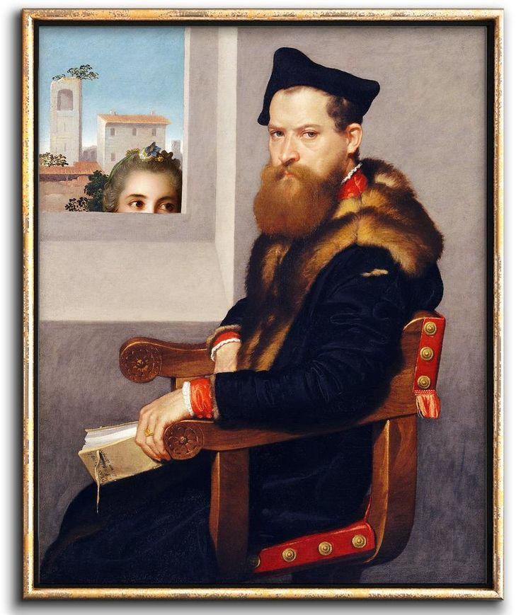 Altered art vintage portrait painting downloadable print