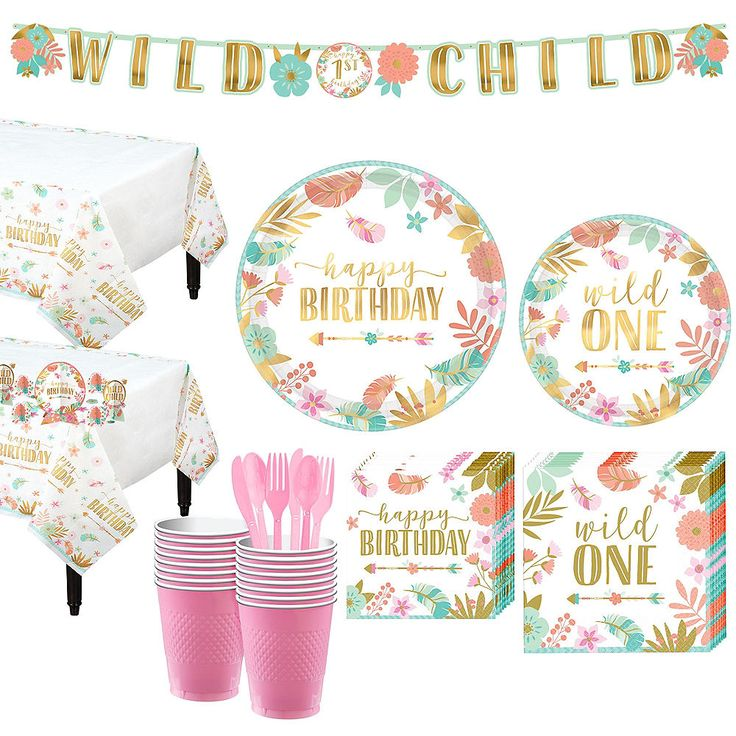 Boho girl 1st birthday party kit for 16 guests party