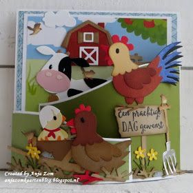 Handmade card by DT member Anja with Collectables Eline's Cow (COL1426), Eline's Farm Set (COL1427), Eline's Chicken Family (COL1429), Craftables Punch Die Cats & Dogs (CR1368), Punch Die Birds (CR1398) and Bendy Card (CR1402) from Marianne Design