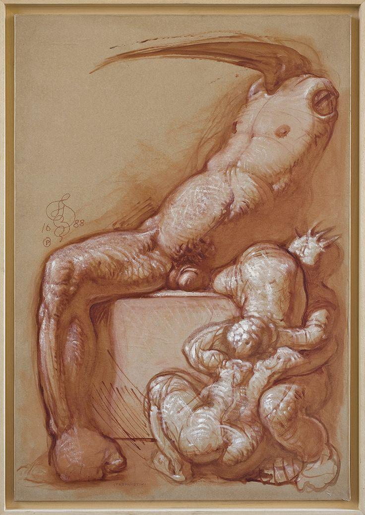 Franciszek Starowieyski | <i>AKT Z DZIOBEM, 1988</i> | gwasz, akryl, papier naklejony na płótno | 100 x 69.5 cm