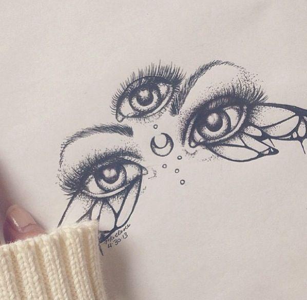 Art Design Drawing Eyes Pen Pencil Sketch Three