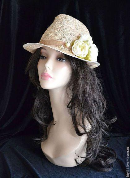 """Шляпы ручной работы. Ярмарка Мастеров - ручная работа. Купить Федора соломенная """" Розы"""". Handmade. Бежевый, шляпка с цветами"""
