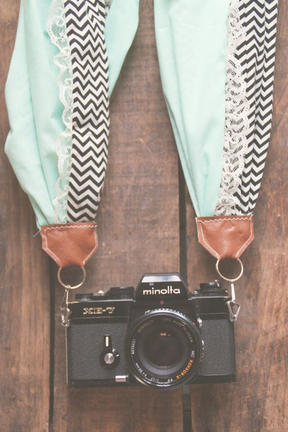 Scarf Camera Strap in Black Chevron Turquoise by AnnabellsWorkshop, $35.00