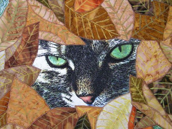 Textile Fiber Art Quilt Wall Hanging Cat by thebutterflyquilter, $225.00
