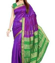 Buy Purple plain art silk saree with blouse art-silk-saree online