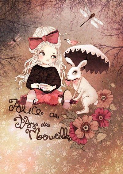 """""""Alice au Pays des Merveilles""""  Illustration d'Anne Cresci, artiste française."""