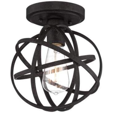 "Industrial Atom 8"" Wide Edison Bronze Ceiling Light"