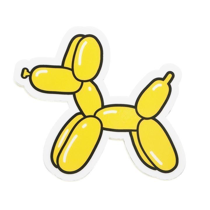 """Gelber Luftballon Hund Vinyl Aufkleber – 3 """"x 2,7"""" – Gedruckt auf weißem Vinyl – Gestanzte"""