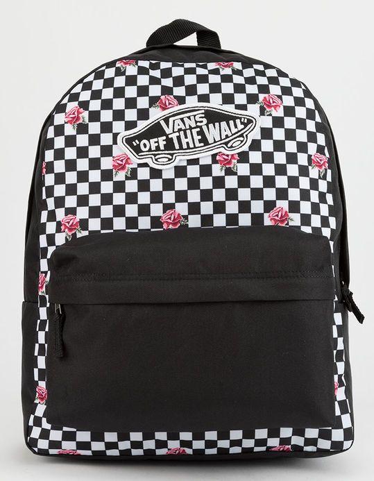 VANS Realm Rose Checkerboard Backpack  13c9ee7d437