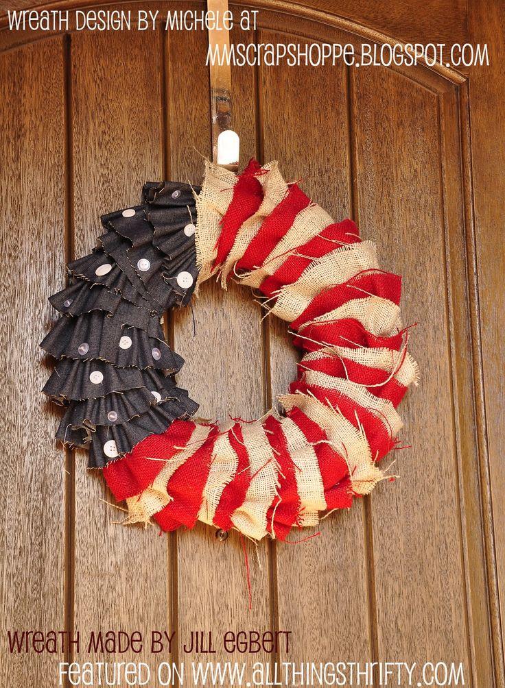 Love this!!!: Burlap Wreaths, Fourth Of July, July Wreaths, Patriots Wreaths, Flags Wreaths, 4Th Of July, July 4Th, Wreaths Ideas, Blue Wreaths
