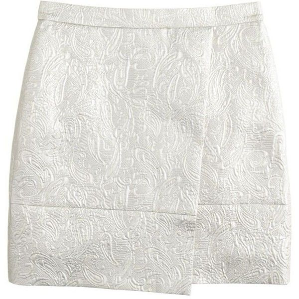 J.Crew Origami skirt in metallic matelassé featuring polyvore, fashion, clothing, skirts, bottoms, origami skirt, j.crew, j. crew skirts, long white skirt and white knee length skirt