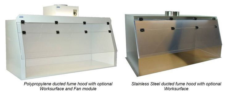 Cleatech's Polypropylene and Stainless Steel Fume Hoods with duct ports are available with or without bottom work-surface. These chemical resistant exhaust hoods can be placed on any standard workbenches to ventilate and remove chemical fumes through exterior ducting - http://www.laboratory-supply.net/exhausthoods/ducted_fume_hood_chemical_resistant.html For more info, please call: 1-(714) 740-5058