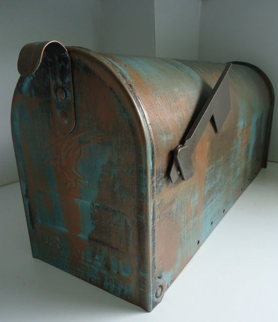 Copper Verde Patina Metal Mailbox by VTCreativeWorks on Etsy, $75.00