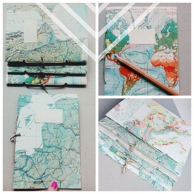 DIY notebooks covered with vintage maps #abeautifulmess