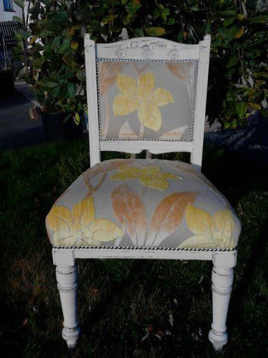 Antique chair Handpainted in White and upholstered