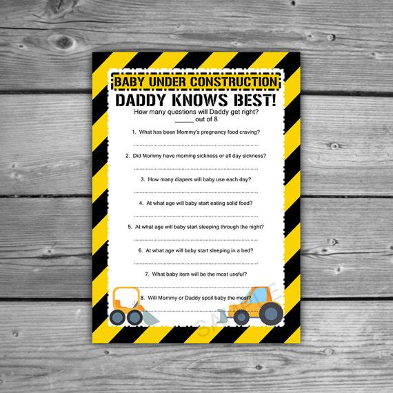 Construction Baby Shower Daddy Knows Best Game  by TheDigiSloth
