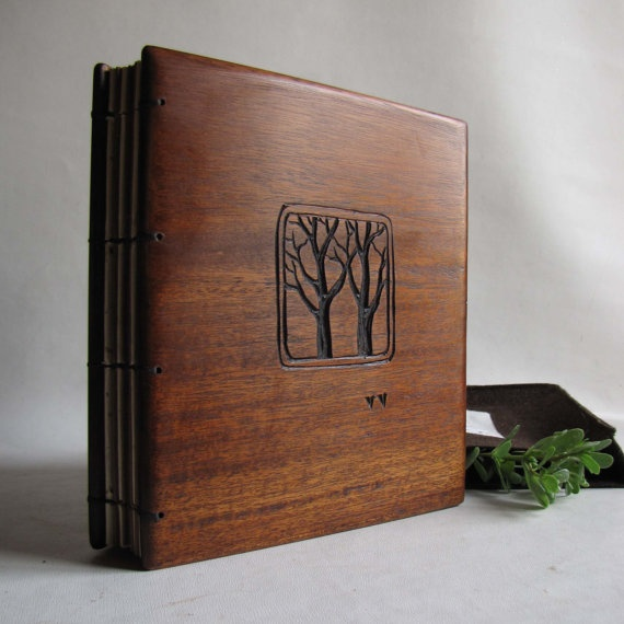 Wood Covered Book : Wedding guest book wooden covers two trees reserved