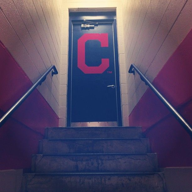 A behind-the-scenes view of what Indians players see before heading out to the player's lot.