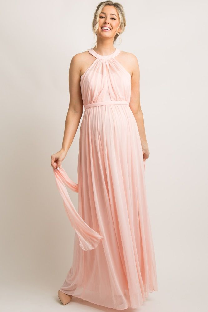 b108f43f641a1 Light Pink Halter Tulle Maternity Evening Gown   Pregnancy/mommy ...