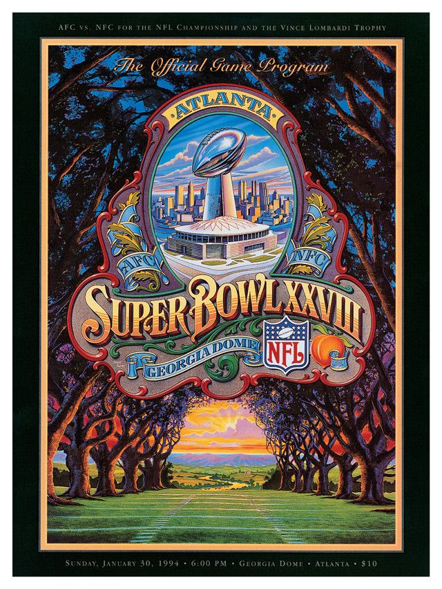 1994 Cowboys vs Bills 22 x 30 Canvas Super Bowl XXVIII Program