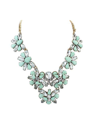 Light Green Gemstone Multi-Floral Collar Necklace AC0020132-2