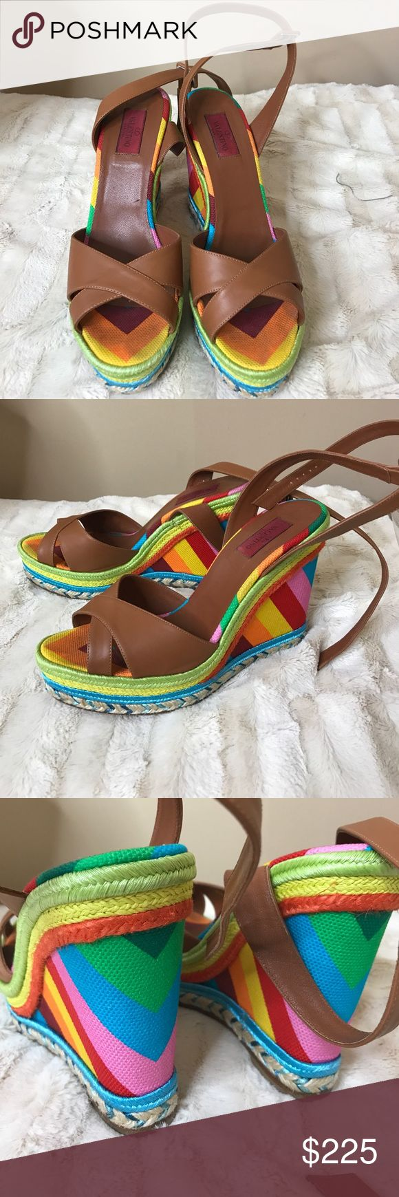 Multi Colored Valentino Wedges I only wore these once and I'm cleaning out my closet! Valentino Shoes Wedges