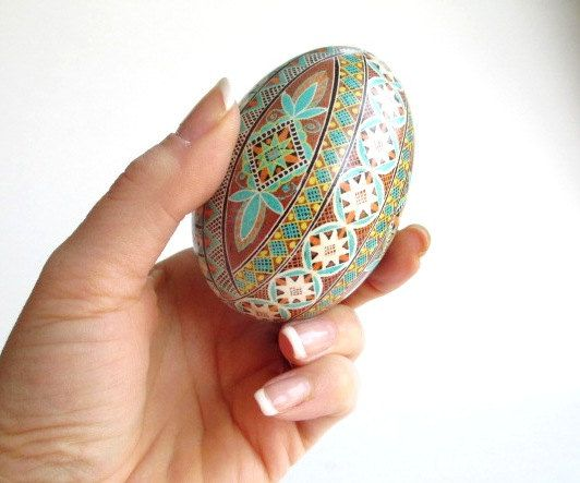 blue brown goose  Egg Pysanka Ukrainian by UkrainianEasterEggs, $69.95