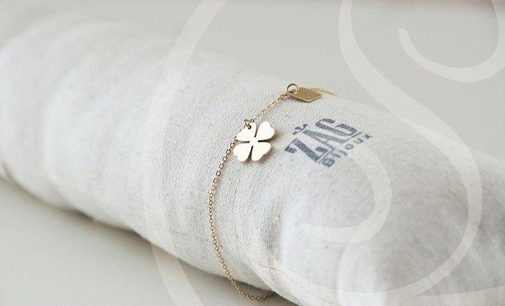 Zag Bijoux Armband Klavertje 4 Goud