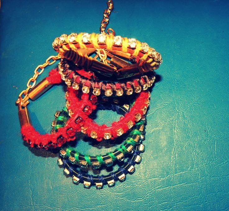 Handmade bracelets with strass.