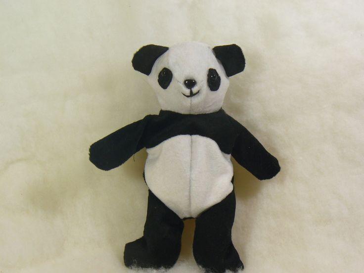 Tiny Bean Bag Panda, Stuffed Animal, Fiber Art, Soft Sculpture Bear - pinned by pin4etsy.com