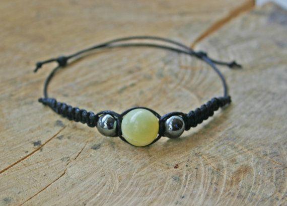 South China Jade and Hematite Bracelet Handmade by TriouZ on Etsy, £5.79