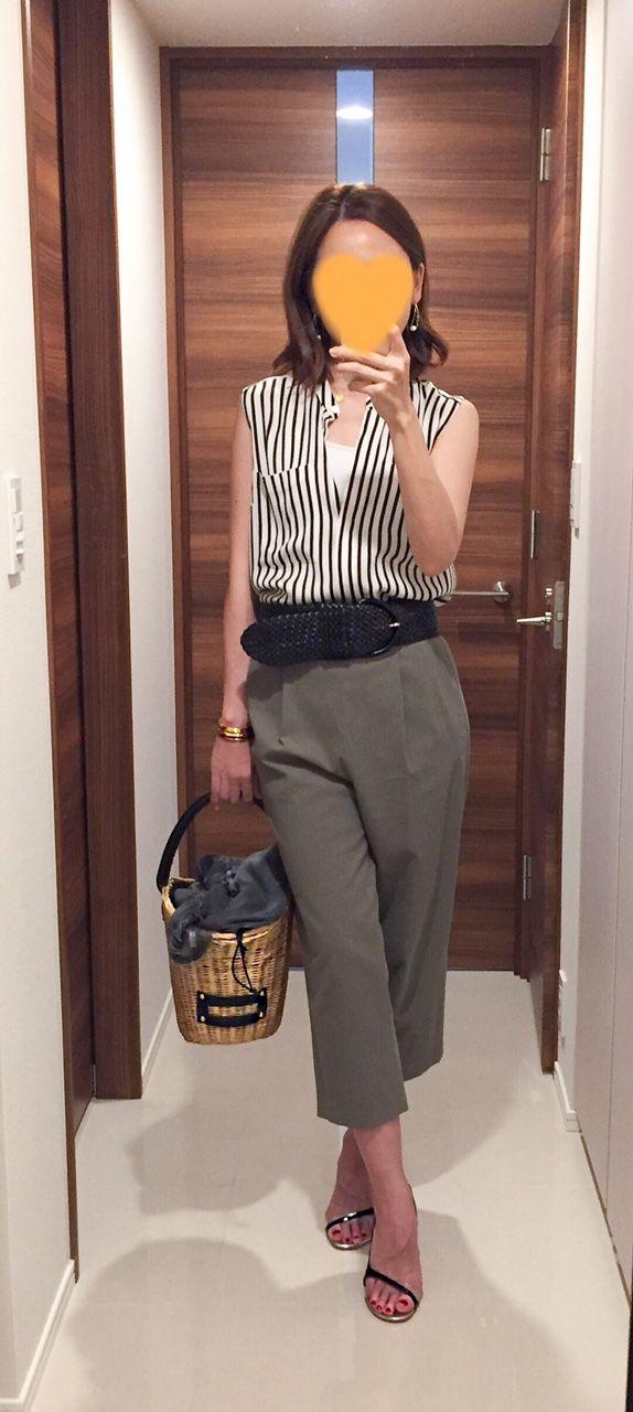 - Striped shirt: Ballsey - Khaki pants: Tomorrowland - Belt: Theory - Bag: Babylone - Sandals: Pellico