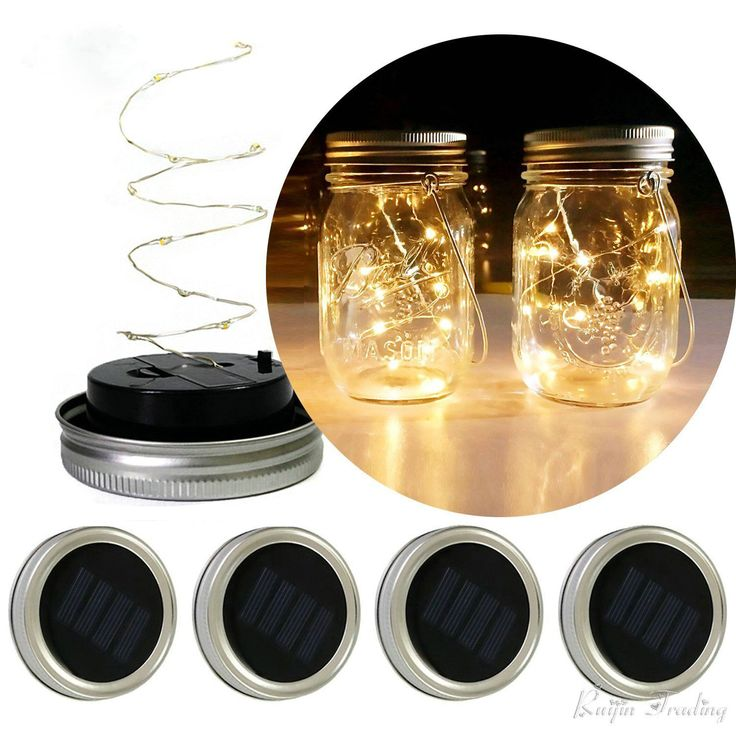 LED DIY Lichterkette Solar Batterie Betrieben Einmachglas Deckel Einsatz Kupfer Fee Streifen Draht Outdoor Party Dekoration Nachtlampe