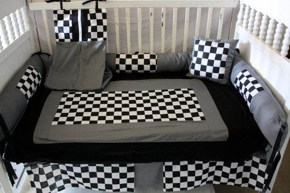 Hey, I found this really awesome Etsy listing at http://www.etsy.com/listing/112683127/grayblack-race-car-baby-bedding-set-free