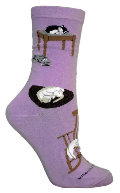 Lazy Cats Purple Cotton Ladies Socks