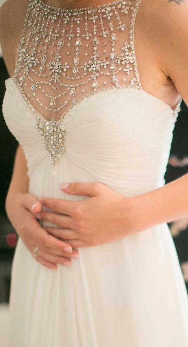 Gorgeous strapless embroidered neck wedding dress