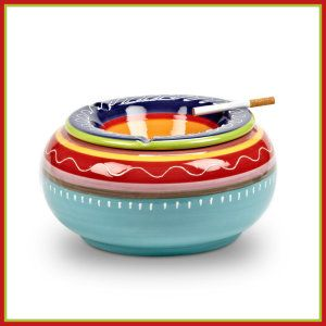 Abbott Collection Colorful Covered Ashtray This  Abbott Collection, is Inspired by the bright colors of indigenous South American. They are food and dishwasher safe. They can be used both indoor or outdoors. http://theceramicchefknives.com/ceramic-ashtray-lid/