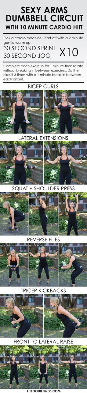 Sexy Arms Dumbbell Circuit Workout with 10 Minute Cardio HIIT http://fitfoodiefinds.com/2014/08/sexy-arms-dumbbell-circuit-workout-10-minute-cardio-hiit/?utm_campaign=coschedule&utm_source=pinterest&utm_medium=Lee%20Hersh%20%7C%20Fit%20Foodie%20Finds%20(WORKOUTS)&utm_content=Sexy%20Arms%20Dumbbell%20Circuit%20Workout%20with%2010%20Minute%20Cardio%20HIIT