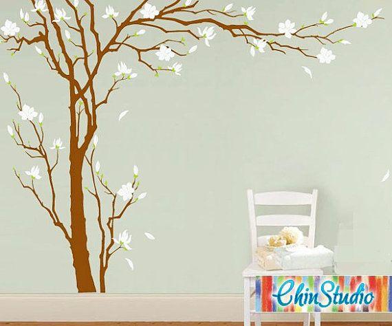 """Tall Plum blossoms tree-102"""" Tall-Tree Decal, Vinyl Wall Decal, Wall sticker"""