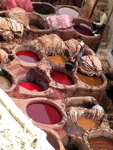 dye pits of Medina - Morroco  I would so love to see this, and the dyed fabrics after!