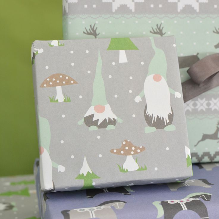 Gnomes Scandinavian Christmas Gift Wrap by Revel & Co.