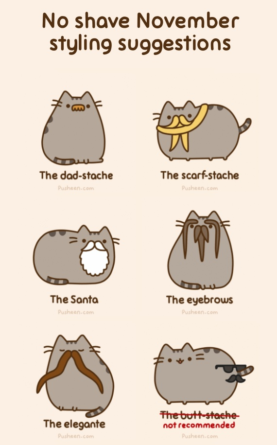 Pusheen from http://www.pusheen.com supports Movember!
