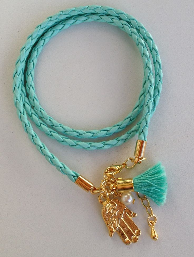 Turquoise leather bracelet pulseira de couro turquesa