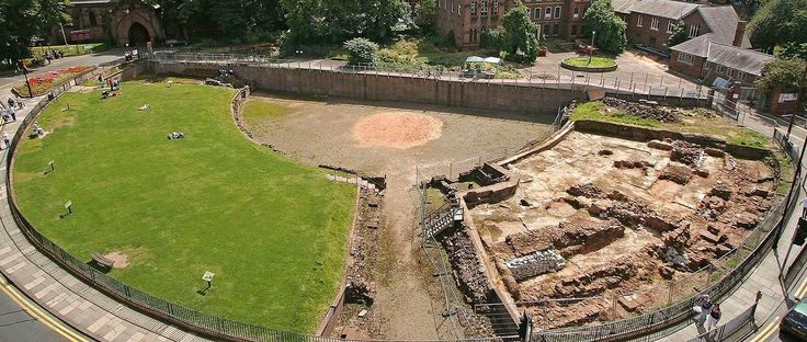 Chester Roman Amphitheatre - Elevated view with excavation in progress