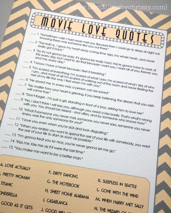 These bridal shower game cards feature love quotes from popular and iconic movies. The design has a modern retro feel and features the ever