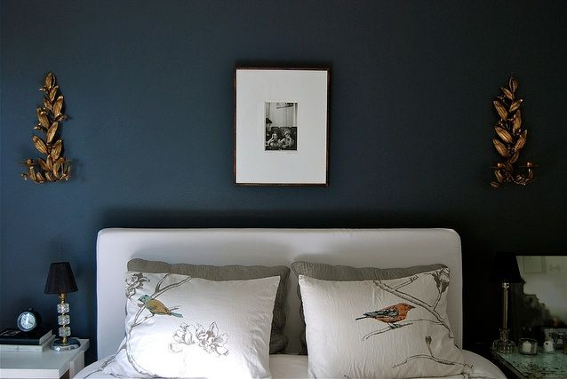 Such a pretty indigo color. Lots of sweetness going on, too. Cute birds on the bed, metallic, and symmetry!!