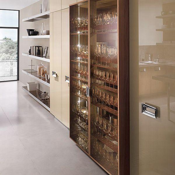 Walnut kitchen furniture - lacquered wardrobe