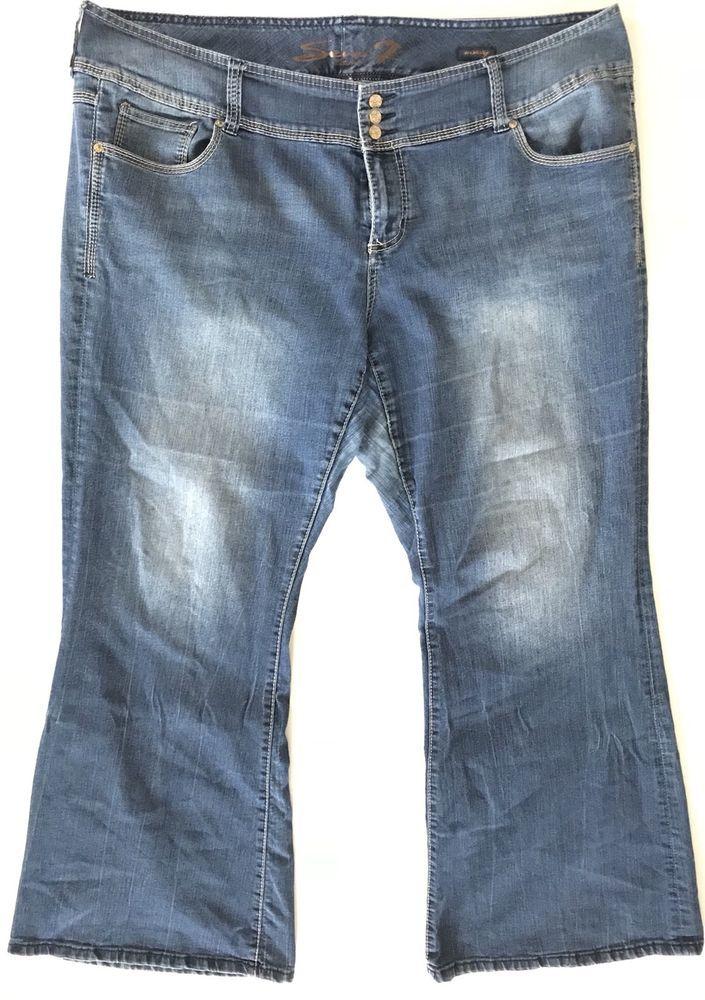 Seven 7 Jeans Women Plus Size 24 X 32 Medium Wash Low Rise Wide Leg Stretch Sevenjeans Plussize