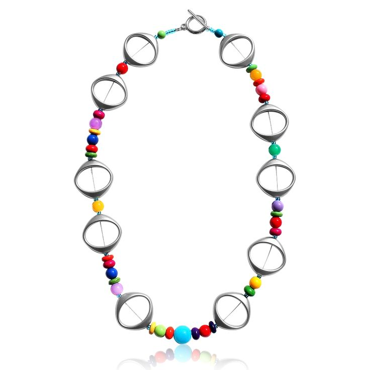Multicoloured and silver necklace
