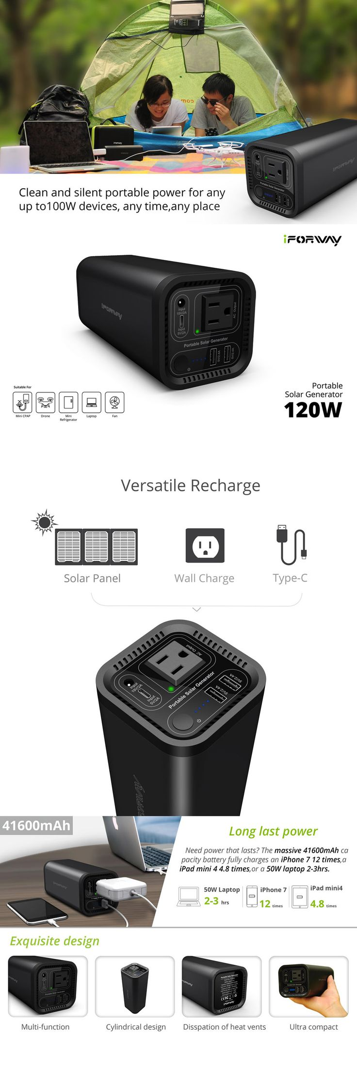 20 Best Top 10 Solar Generators Images On Pinterest Cheap Rv Livingcom Basic 12 Volt Wiring How To Install A Led Light Power Bank With 41600mah Fully Charge An Iphone7 Times Ipad Mini4 48